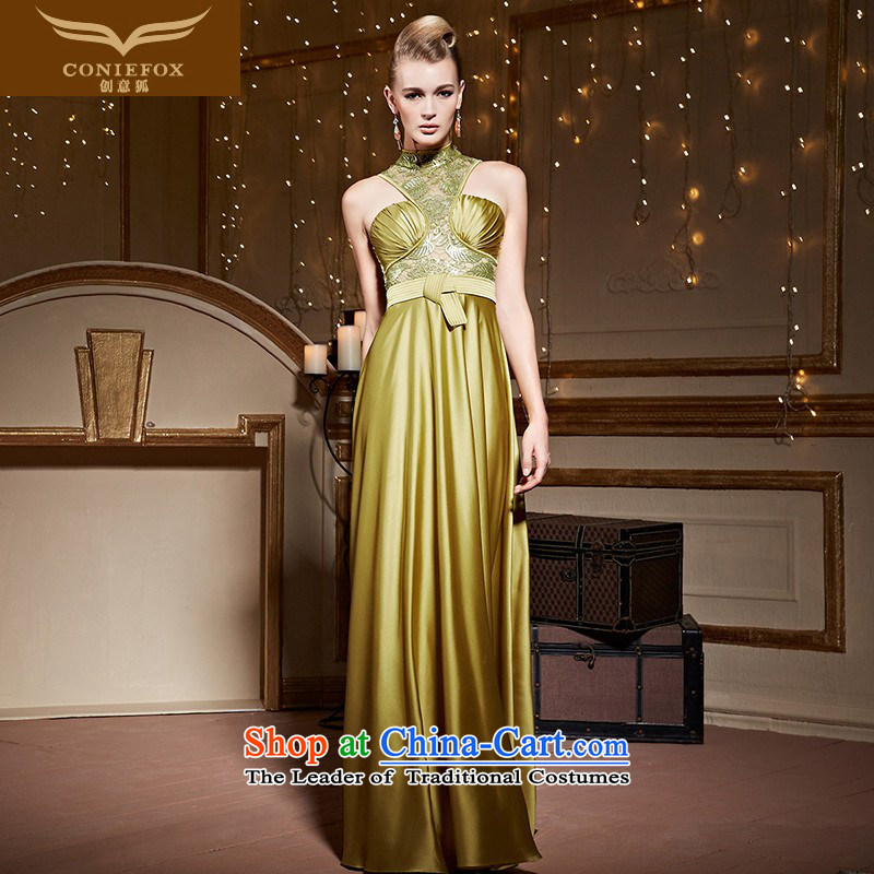 The kitsune gold dress stylish creative engraving hanging also long banquet evening dress evening dress toasting champagne auspices to sit back and relax long skirt 30983 Golden?XL