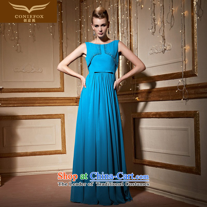Creative fox borrowing two blue shawl dress elegant long sleeveless dress annual meeting under the auspices of evening dress will drink service long skirt benefiting 30,988 Blue?S