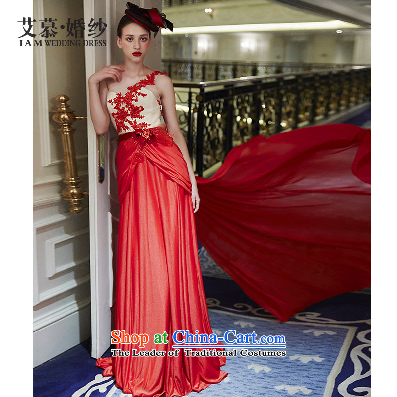 Wedding dress 2015 new masked red lace shoulder services drop off service bows red L