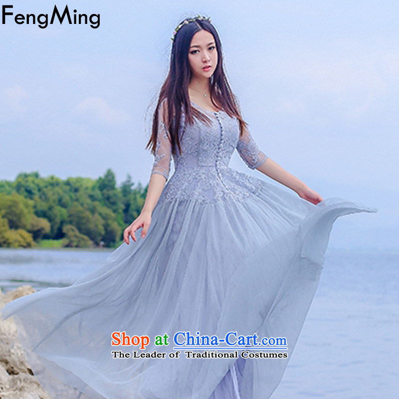 Hsbc Holdings Plc?2015 Autumn Ming dresses new irrepressible retro bridesmaid bride embroidery lace wedding dress skirt light gray?XL