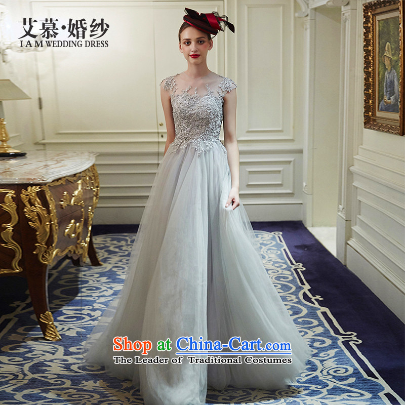 The wedding dresses HIV 2015 New Flower Athena semi permeable to align the lace bon bon skirt dress light gray S