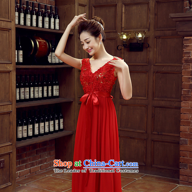 Non-you do not marry?2015 new evening dresses red married long strap dress deep V-neck and sexy bows to lace bridesmaid dress dresses RED?M