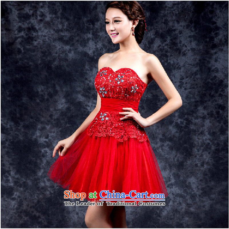 Evening dress new summer 2015 short, banquet dresses dress girl brides bows to marry a stylish field shoulder red?XL