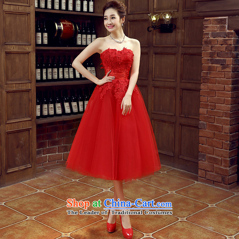 Non-you do not marry autumn 2015 wedding dress red anointed chest bride bows services lace flowers sweet bon bon skirt bridesmaid services red XXL