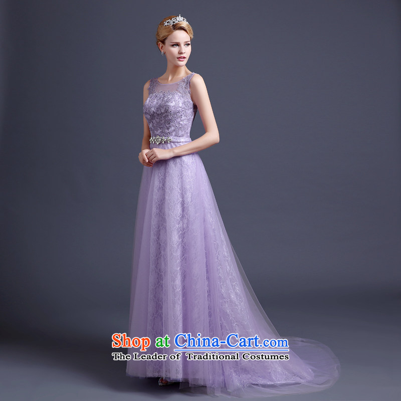 High-end wedding dresses dream purple bride wedding dress small tail light purple skirt princess banquet dress moderator dress bride bows light purple services tailored does not allow