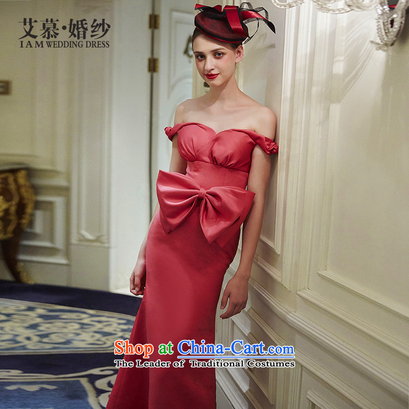 The wedding dresses HIV NEW 2015 maple red word hung shoulder bows services evening dresses watermelon red?L