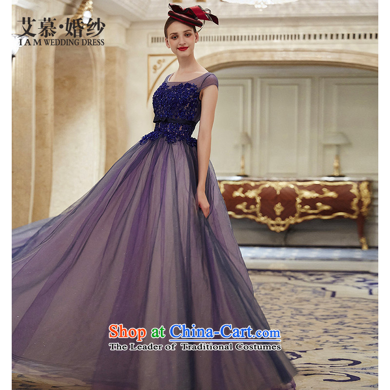 The wedding dresses HIV 2015 autumn and winter new trade snow lace bows drop off services dress Sapphire Blue?M