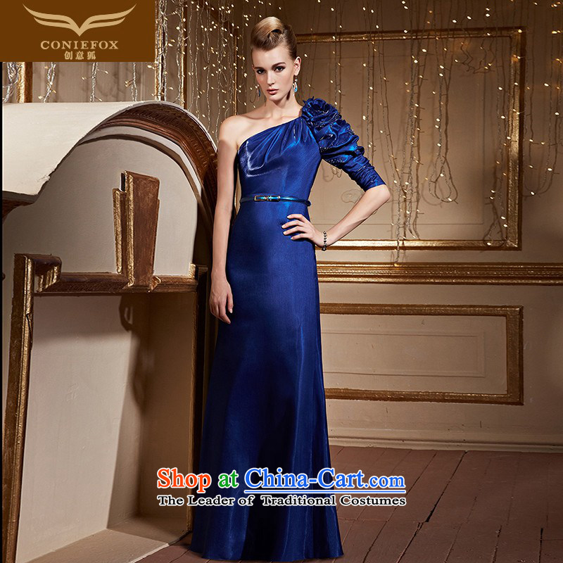 Creative?New 2015 FOX single shoulder length of blue dress evening drink services under the auspices of the annual session will dress female banquet long skirt 82239 blue?XL