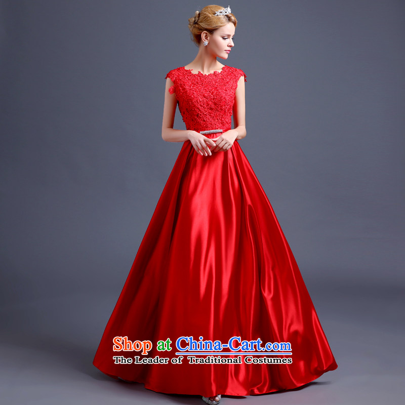 2015 Spring and Fall to align the new bride, Wedding Dress lace red bows services video thin waist bow tie evening dresses red聽S