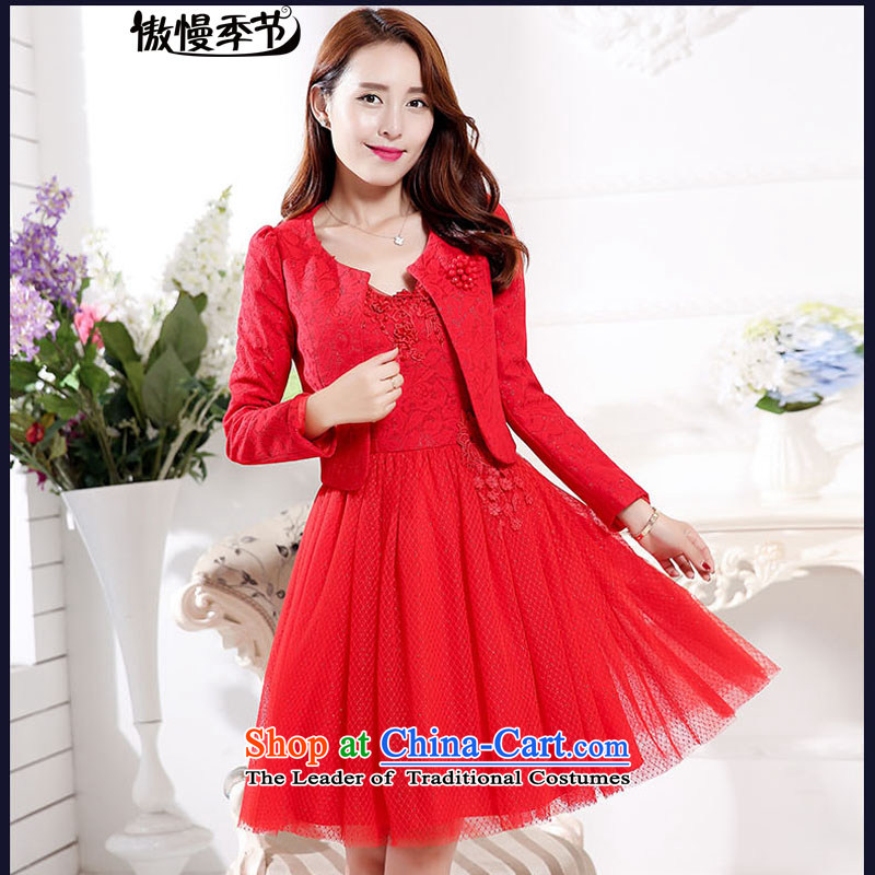 Load New autumn 2015 aristocratic new bride dress a marriage dresses red dress bows serving two kits female red?L