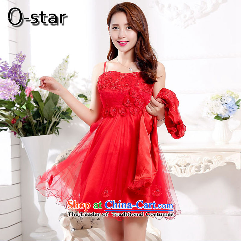 Women's clothes autumn 2015 o-star skirt kit bows service wedding dress lace skirt shawl two kits bride back to door onto the skirt red?XXL