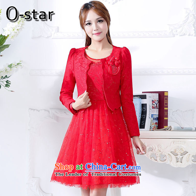 In the fall of 15 o-star new bride bridesmaid married women dress bows red long wedding dress two kits dresses red?L