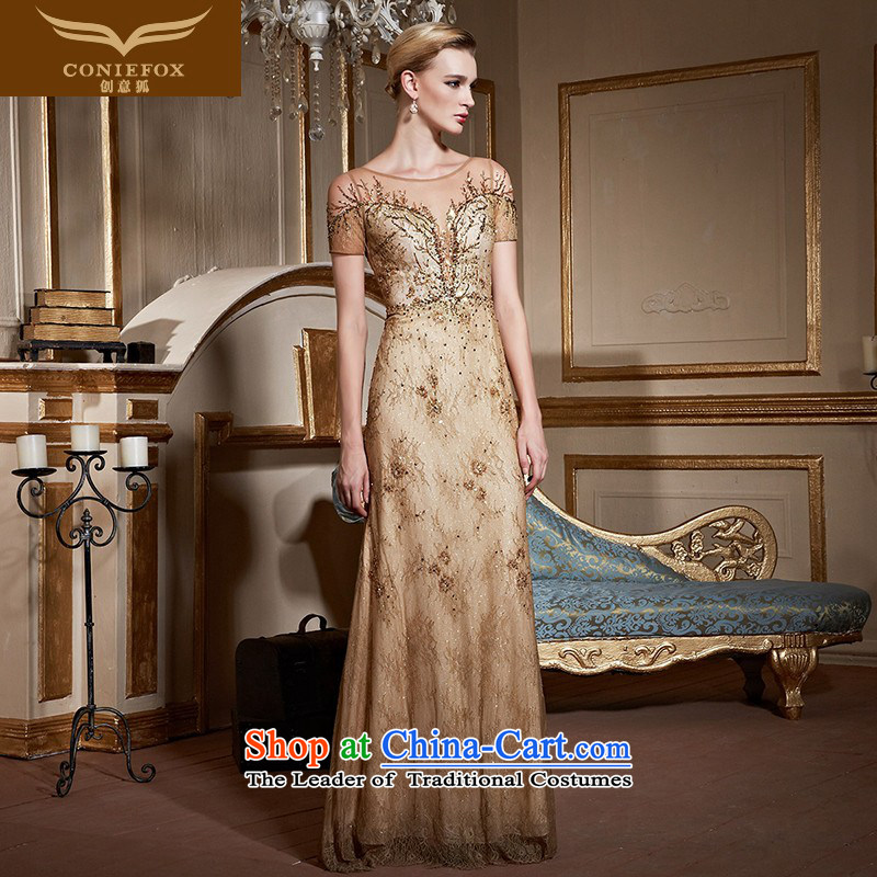 Creative and stylish web nails fox bead dress elegant long evening dress annual meeting chaired banquet dress bows to show dress long skirt�82230�pale gold�S