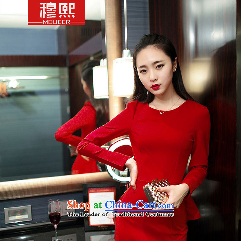 Mok-hee?  new) Autumn 2015 temperament long-sleeved shirts gift of forming the elegant beauty services Korean married Red Dress? 212?red