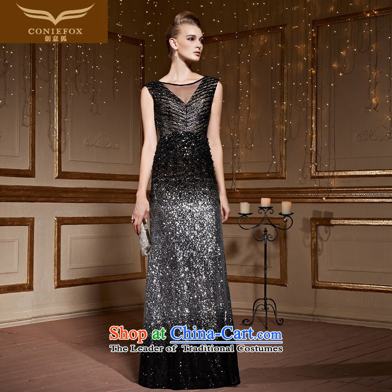 Creative?New 2015 FOX black shoulder red carpet performances on chip annual dress Sau San Female dress suit under the auspices of evening drink service 82226 Black?XL