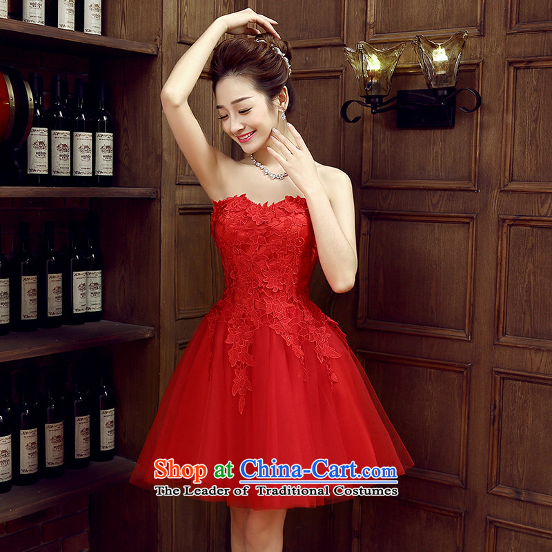 Non-you do not marry 2015 Autumn marriages with red wedding dresses bows to the bride bridesmaid service pack evening dresses Foutune of dresses red?XL