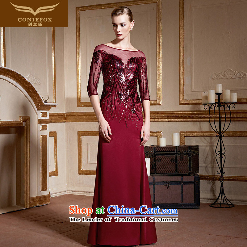 Creative Fox wine red wedding dress in the evening drink service cuff on chip Sau San long stylish, banquet evening dresses bridal dresses back door 82222 wine red�S