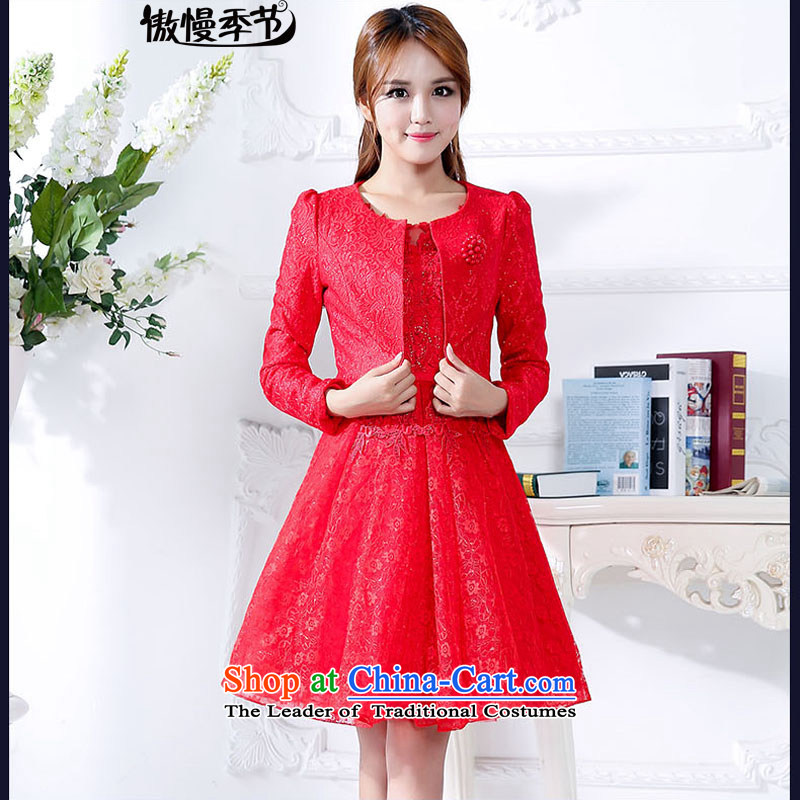 The new 2015 Autumn boxed long-sleeved two kits dresses female elegance gentlewoman skirts into wine dress bride RED?M