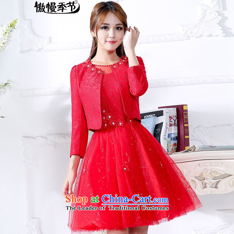 In spring and autumn 2015 new large red bride replacing dresses marriage the lift mast bows dress lace red dress two kits red?XL