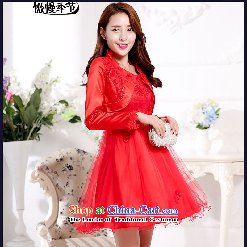 Load New autumn 2015 aristocratic new bride dress a marriage red dress bows serving two kits dresses female red?L