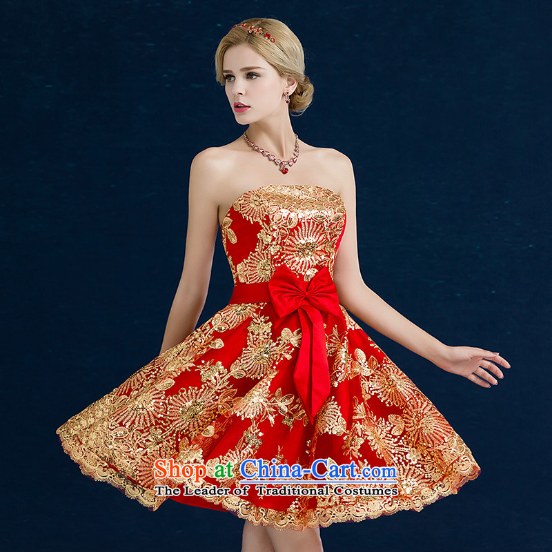 Jiang bride bows service seal 2015 new autumn and winter and chest Wedding Dress Short, banquet dress lace larger evening dresses red anointed chest?XXL