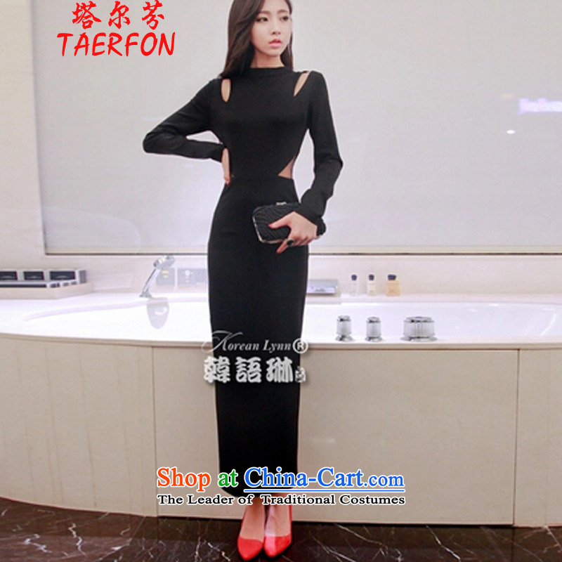 The?2015 autumn and winter fun new Foutune of sexy engraving long-sleeved package and dress long skirt skirt black?S