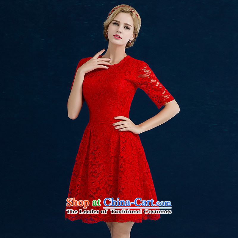 Jiang bride bows service seal 2015 autumn and winter wedding dress red lace in short-sleeved) Wedding dress banquet Sau San evening dress female red A S