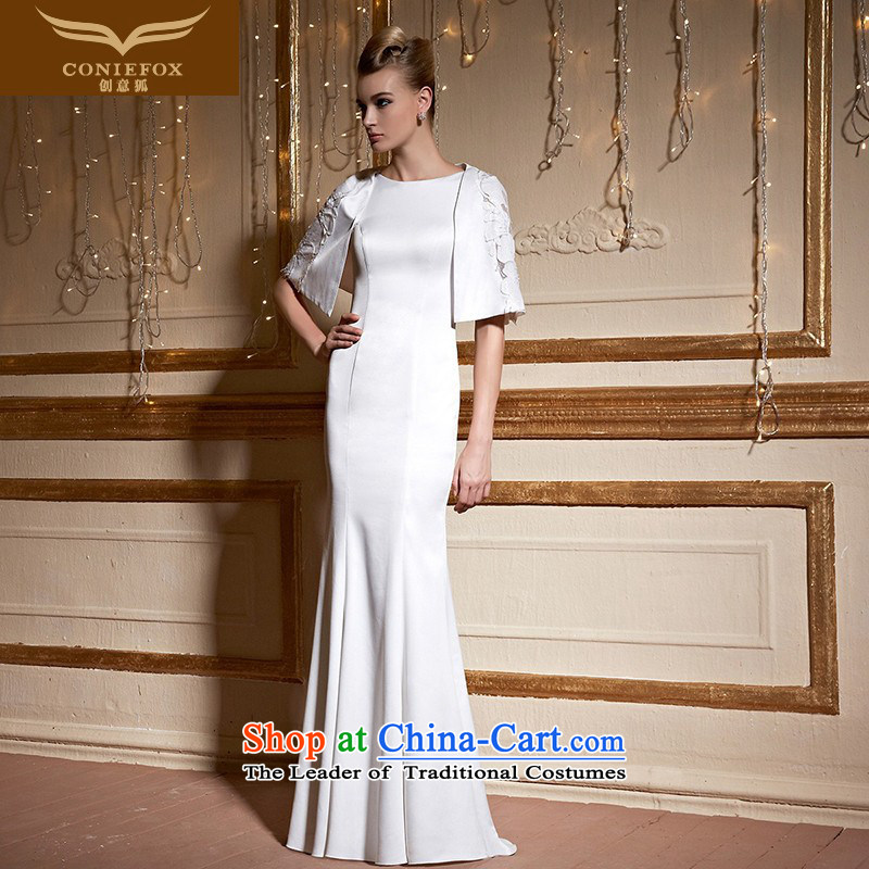 Creative white cape fox two kits banquet evening dress elegant long annual meeting of persons chairing the Female dress show long skirt evening drink service 31039 White?XL