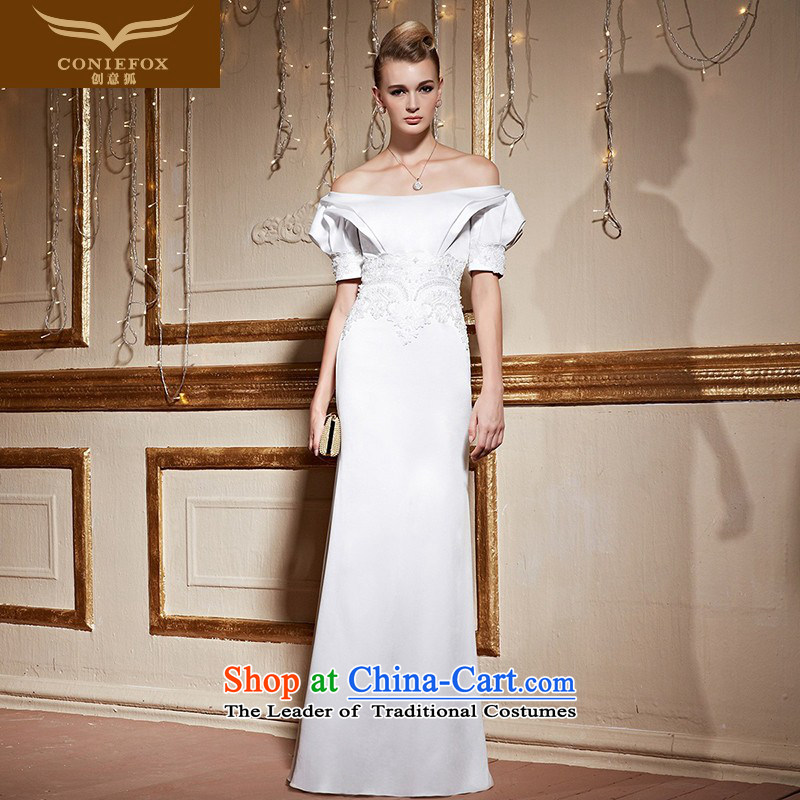 Creative?New 2015 FOX white field shoulder bride wedding dress long skirt long banquet moderator female evening dress bows 31038 White?M SERVICES