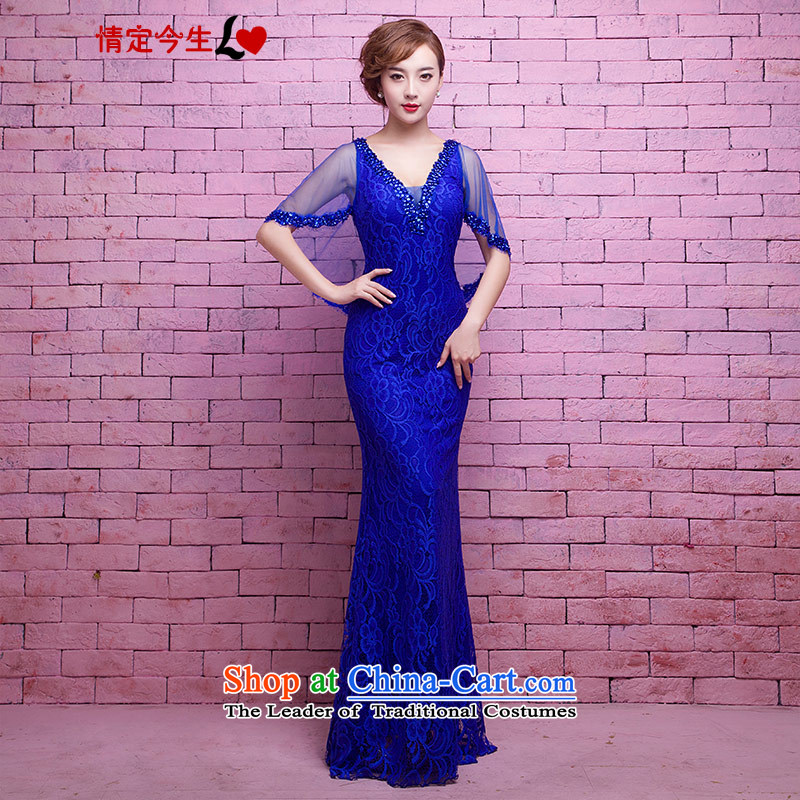 Love of the life of the new 2015 Royal Blue sexy deep V-neck in the light of the word chip lace shoulder cape crowsfoot dress banquet dinner dress Blue?M