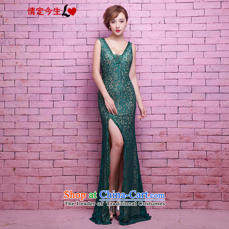 Love of the life of the new 2015 lace diamond slotted shoulder deep V collar height of the forklift truck and sexy crowsfoot banquet dress marriage bridesmaid services dark green?S