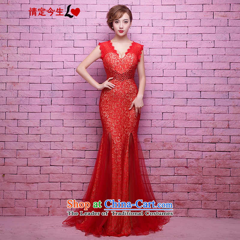 Love of the overcharged new Word 2015 sexy shoulder deep V-Neck red lace bridal dresses Korean crowsfoot marriage bows services red?L