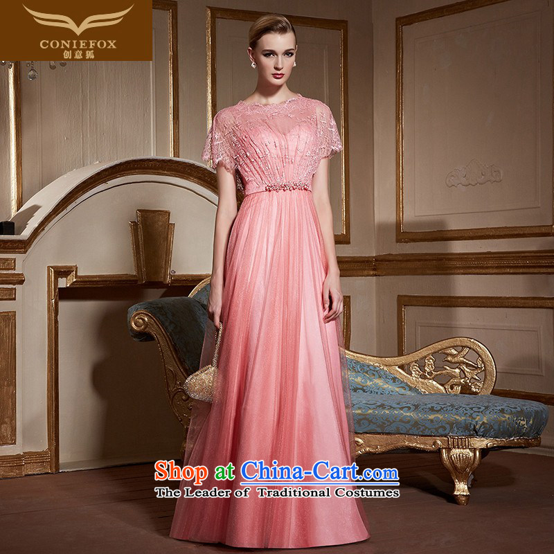 Creative Fox pink lace nets dress bride wedding dress evening drink served long gown will chair the Sau San long skirt 31020 pink?M