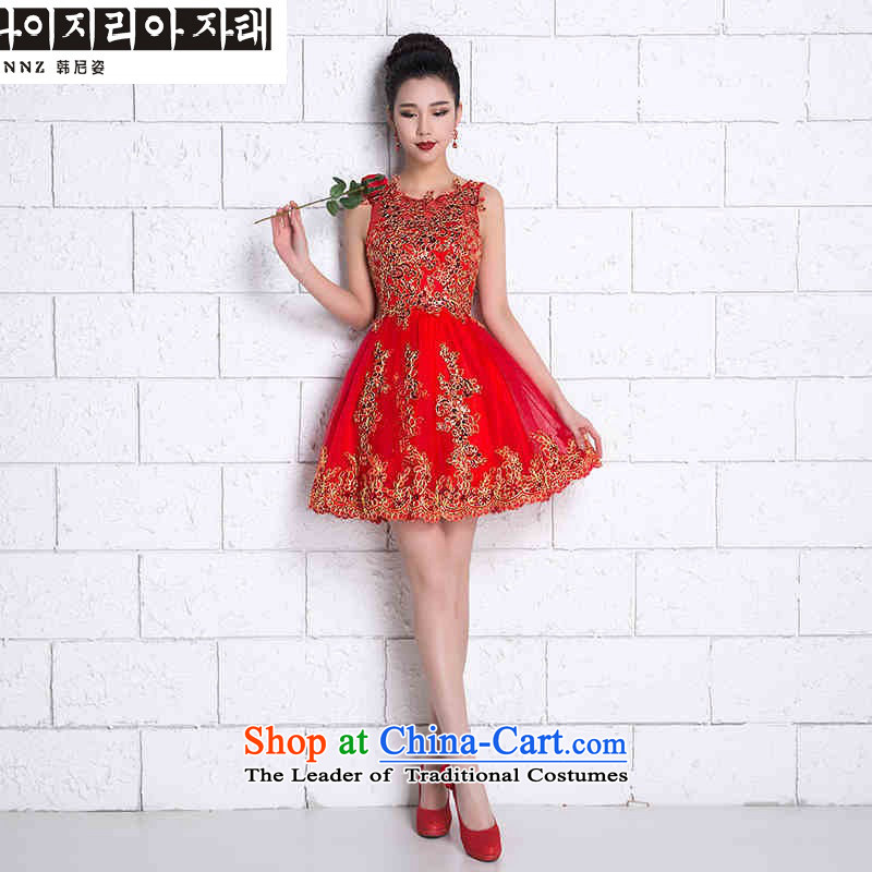 Korea, Gigi Lai?    2015 HANNIZI new spring and summer stylish red Korean V-Neck Solid Color bride wedding dress bows service banquet at the Red short,?XXL