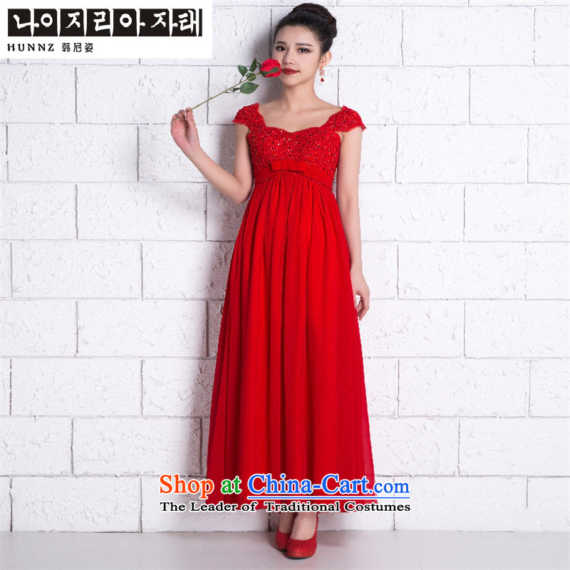 The new 2015 HANNIZI spring and summer Korean fashion bride wedding dress red banquet evening dresses bridesmaid services red long?XL