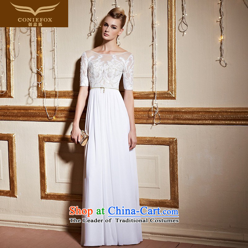Creative Fox stylish lace short-sleeved gown white wedding banquet toasting champagne evening services under the auspices of Sau San dress girl will long skirt 31 018 White?XL