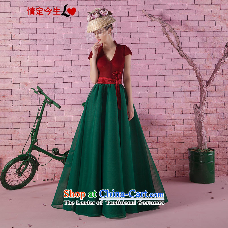 Love of the overcharged 2015V new field for a shoulder short-sleeved to align graphics thin bon bon skirt theatrical dance services services retro red and green�XS