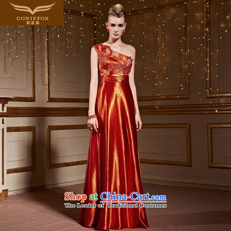 Creative Fox red-orange shoulder dress marriages bows services under the auspices of Sau San will dress stylish embroidered dress long skirt 31015 red-orange�XXL