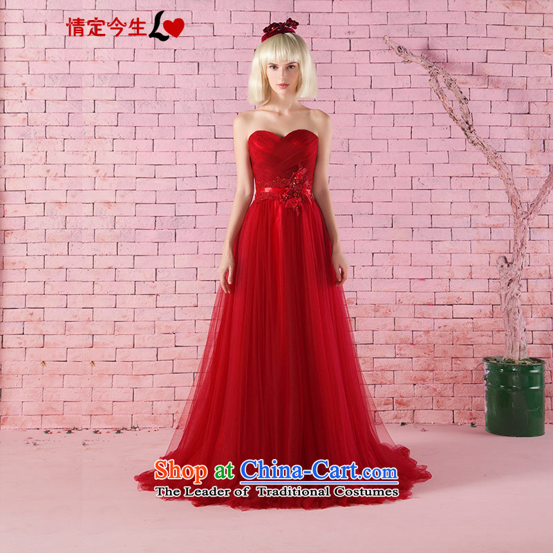 Love of the life of new products by 2015 and sexy red heart-shaped anointed chest Foutune of video thin zipper bride bows services tail dress red?L