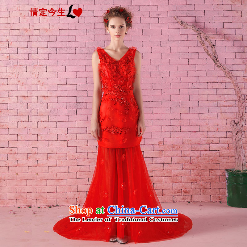 Love of the life of the new 2015 V-Neck word stylish shoulder Korean brides saika strap video thin tail dress marriages bows services tailor-made exclusively concept red message size
