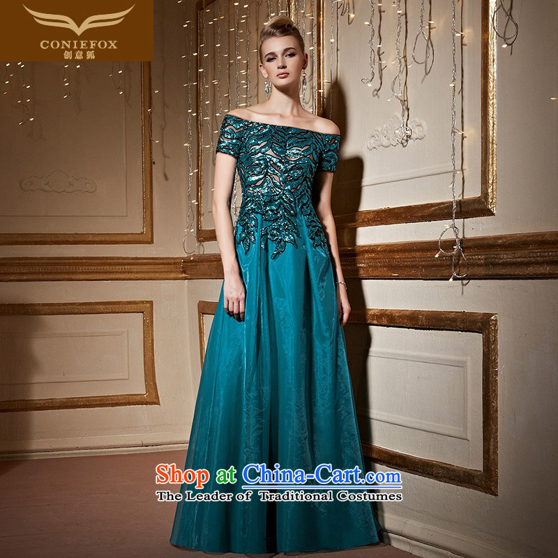 Creative Fox stylish evening drink service green long word   shoulder dress annual meeting of persons chairing the banquet dress female performances dress long skirt 31010 green?S