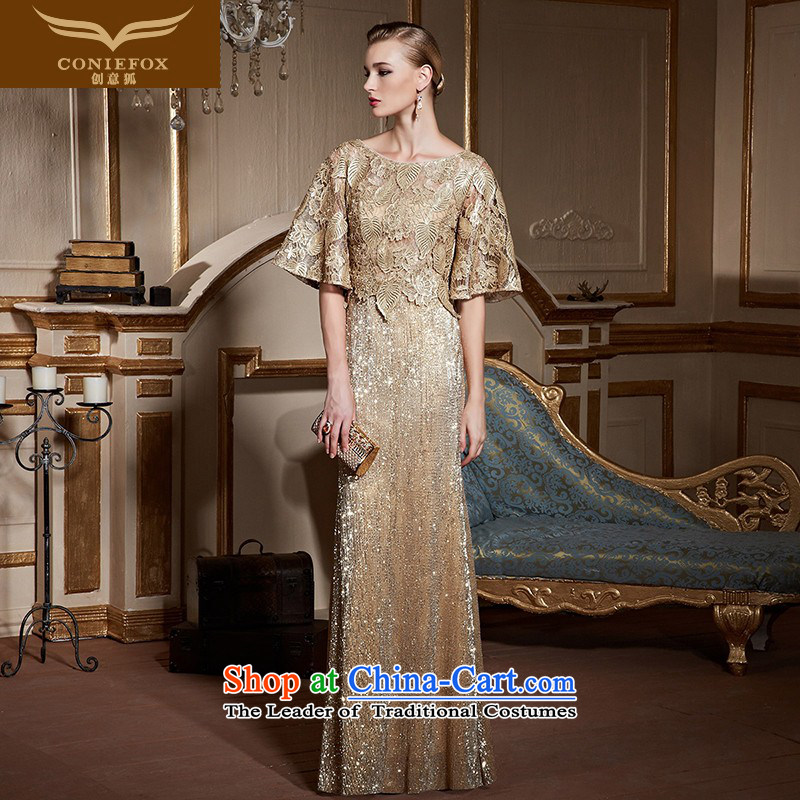 Creative Fox stylish bat sleeves lace engraving banquet hosted evening dress suit Female Sau San long evening drink service red carpet dress long skirt 31009 Golden?M pre-sale