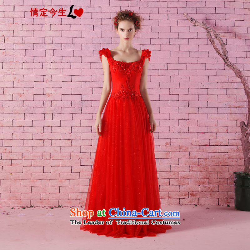 Love of the life of the new Word 2015 shoulder marriages bows to Korean lace dress red long evening dresses and red?M