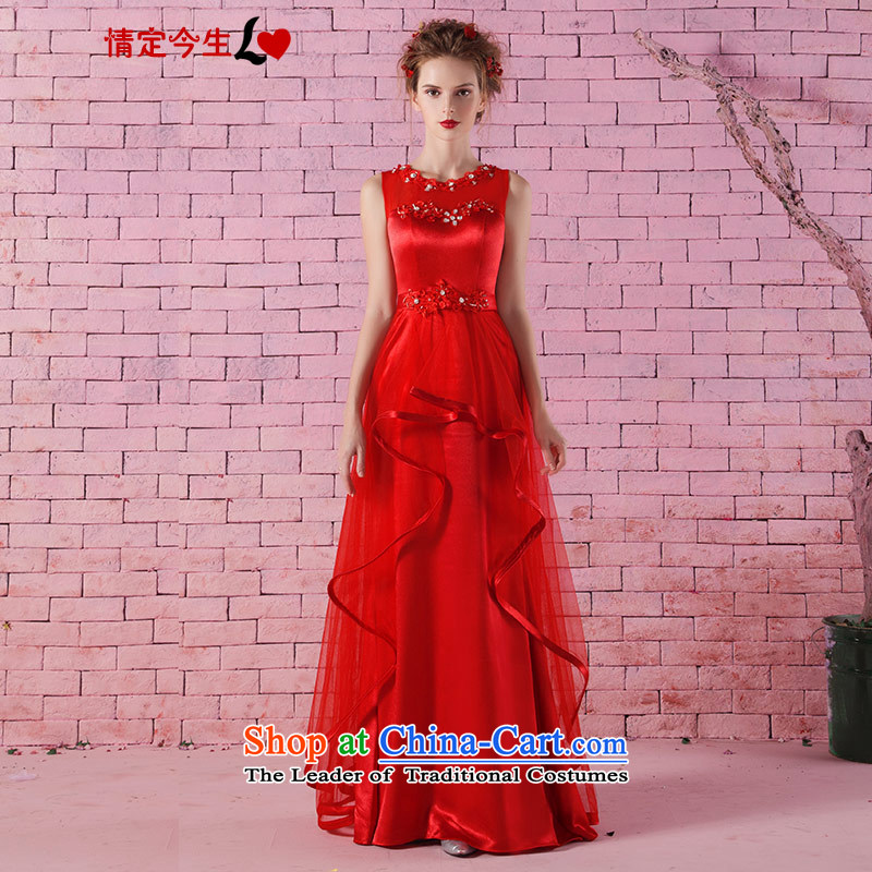 Love of the overcharged new round-neck collar slotted shoulder Korean diamond studs pearl graphics, red dresses and slender marriages bows services red?L