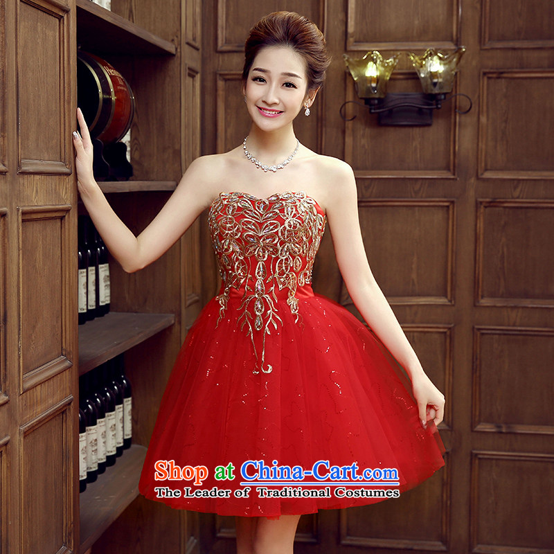 Non-you do not marry sister bridesmaid dress skirt 2015 new fall short stylish evening dresses and chest Foutune of video services bows thin diamond dresses red?L
