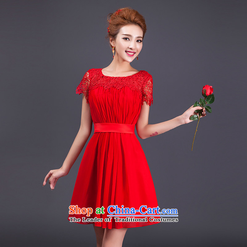 Elegant new 2015 HUNNZ slotted shoulder bride wedding dress banquet dinner dress uniform red short of bows?S