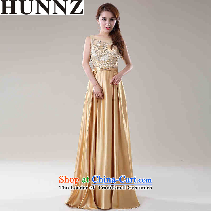 2015 New Korea HUNNZ fashion and larger bride wedding dress bridesmaid service banquet service Champagne Gold bows?XL