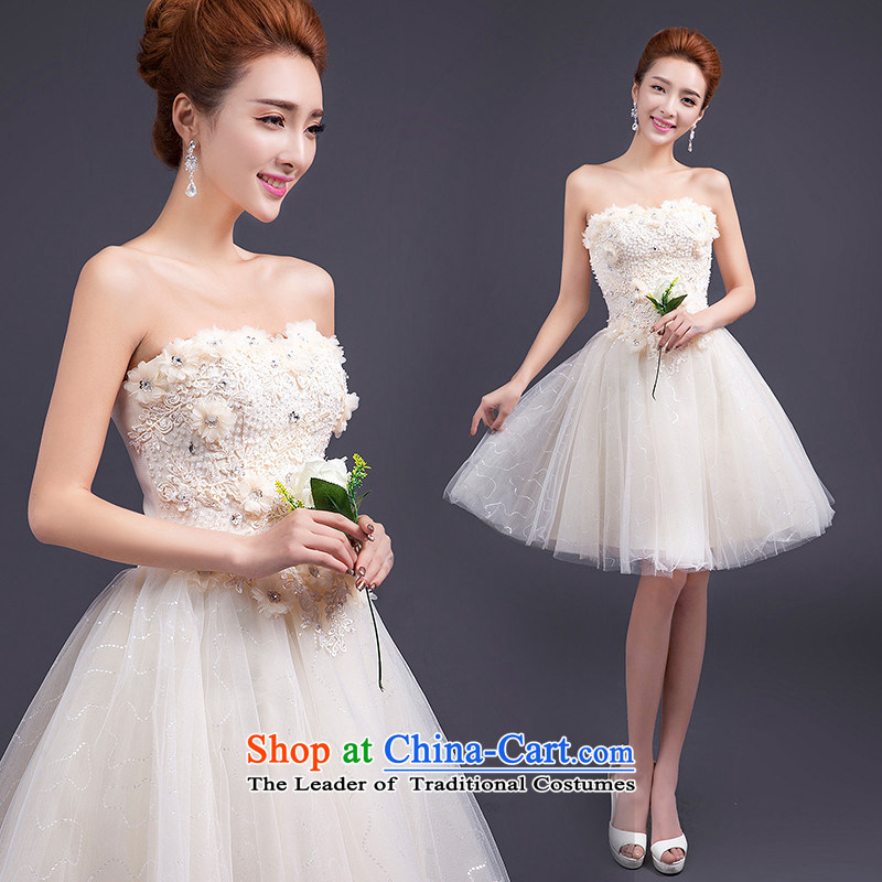 The spring and summer of 2015 HUNNZ strap sweet bride wedding dress bridesmaid service, bon bon skirt evening dress champagne color L