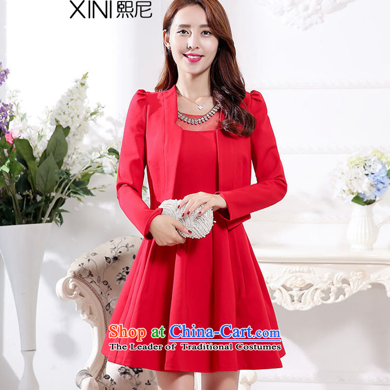 The 2015 autumn and winter-hee load new Korean fashion xl bridal dresses bows services jacket dresses two kits female red�L
