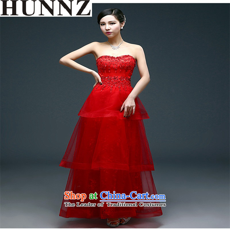 2015 Long dresses HUNNZ Anointed One field of chest shoulder bride wedding dress banquet service, chest and bows�XL